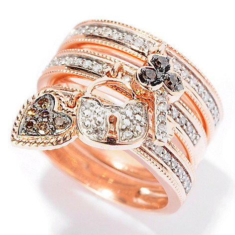 127-453 - Diamond Treasures Set of Three 14K Rose Gold 0.46ctw Diamond Stack Rings