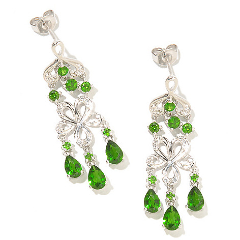 127-459 - NYC II™ 3.02ctw Chrome Diopside & White Zircon Dangle Earrings