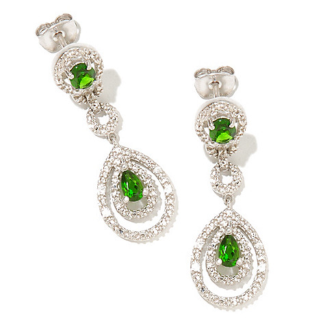127-460 - NYC II 1.08ctw Chrome Diopside & White Zircon Drop Earrings