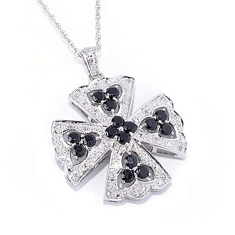 127-469 - Gem Treasures Sterling Silver 1.32ctw Black Spinel & White Topaz Cross Pendant w/ Chain