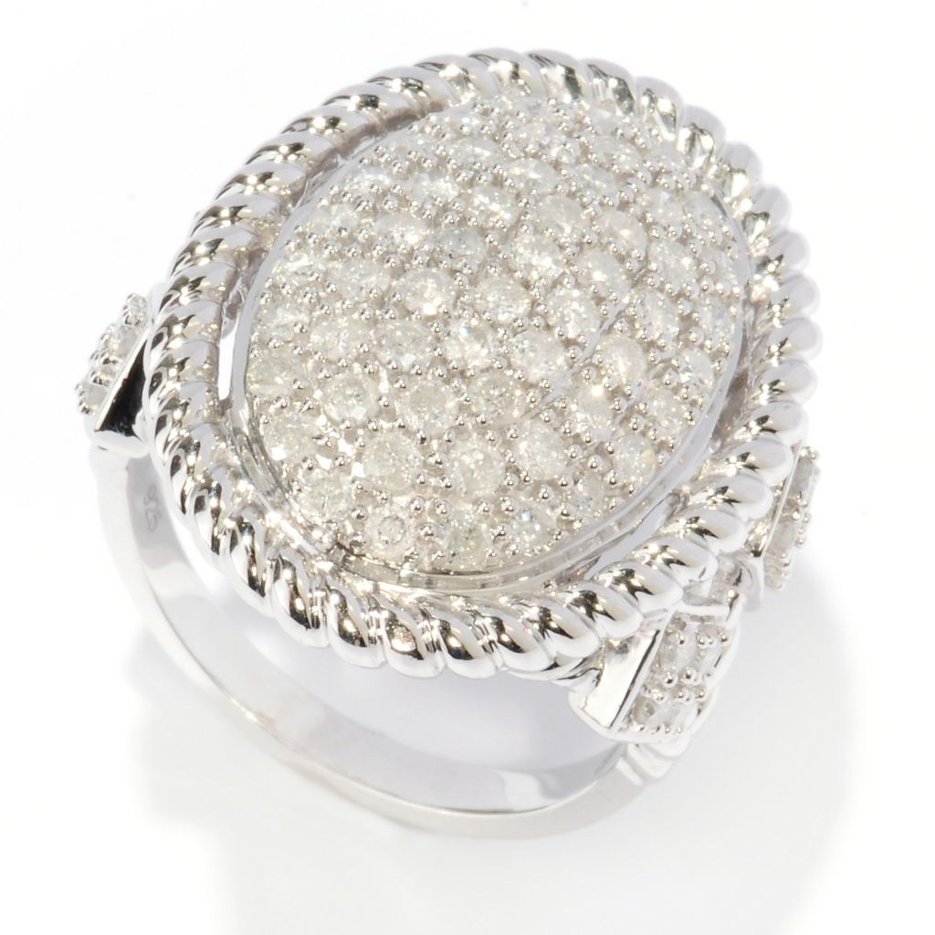 127-470 - Diamond Treasures Sterling Silver 1.34ctw Pave Diamond Oval Ring