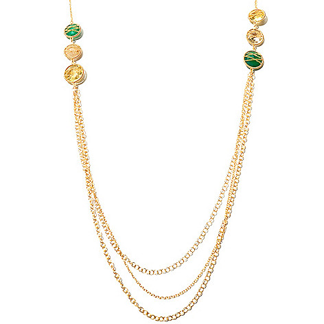 127-494 - Kristen Amato 36'' 29.85ctw Six-Stone Multi Strand Station Necklace