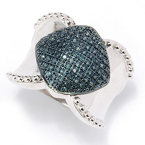 127-500 - Diamond Treasures Sterling Silver 0.32ctw Fancy Color Diamond Marquise Wide Ring
