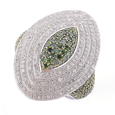 127-508 - Diamond Treasures Sterling Silver 1.66ctw Green & White Diamond Marquise Ring