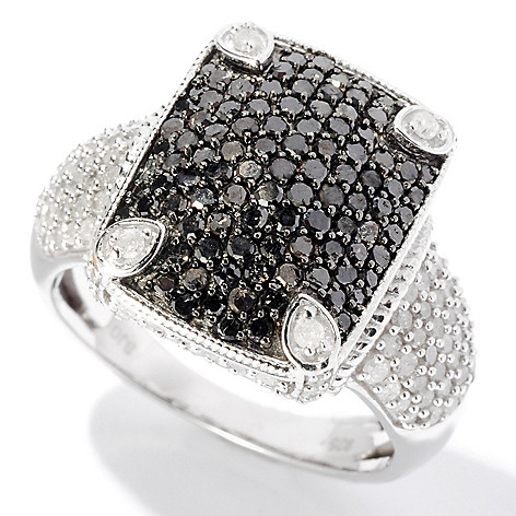 127-510 - Diamond Treasures Sterling Silver 1.64ctw Black & White Diamond Rectangle Ring