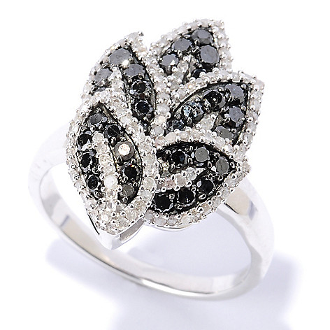 127-512 - Diamond Treasures Sterling Silver 1.15ctw Black & White Diamond Leaf Ring