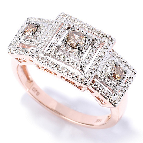 127-518 - Diamond Treasures 14K Rose Gold 0.25ctw Mocha Diamond Layered Square Ring