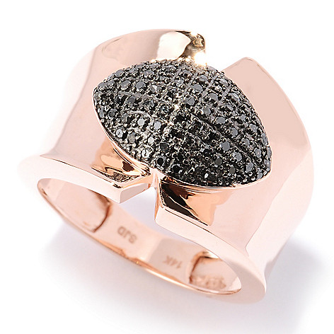 127-519 - Diamond Treasures 14K Rose Gold 0.27ctw Black Diamond Marquise Shaped Ring