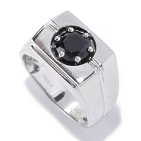 127-540 - Gem Treasures Men's Sterling Silver 1.35ctw Spinel Rectangle Ring