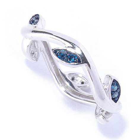 127-546 - Diamond Treasures Sterling Silver 0.17ctw Colored Diamond Leaf Stacker Ring