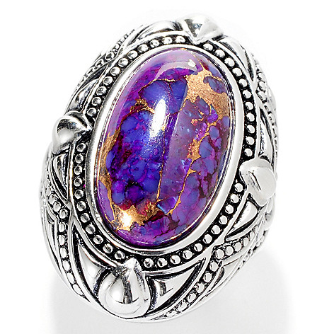 127-548 - Gem Insider Sterling Silver 18 x 11mm Oval Purple Kingman Turquoise Ring