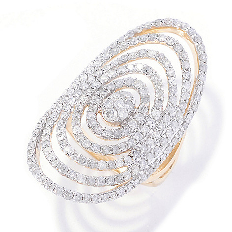 127-592 - Beverly Hills Elegance 14K Gold 2.00ctw Multi Oval Wide Diamond Ring