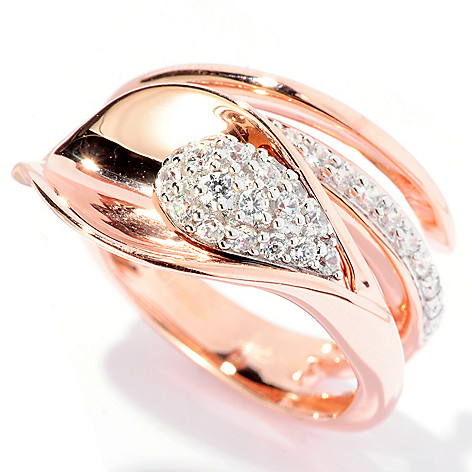 127-614 - Sonia Bitton Gold Embraced™ Simulated Diamond Calla Lily Wrap Ring