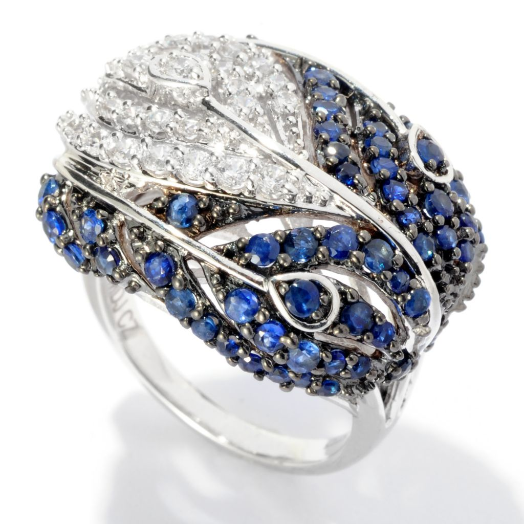 127-615 - Sonia Bitton Platinum Embraced™ 3.02 DEW Simulated Diamond Peacock Feather Ring