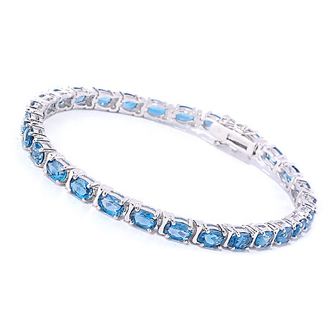 127-628 - Gem Insider™ Sterling Silver Oval Cut London Blue Topaz Tennis Bracelet