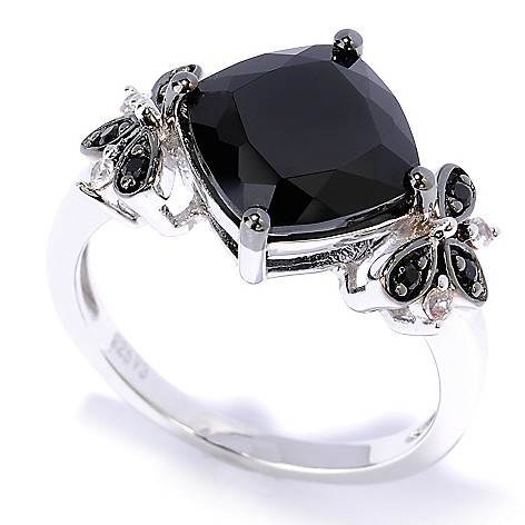 127-633 - Gem Treasures Sterling Silver 3.83ctw Black Spinel & Zircon Cushion Shape Ring