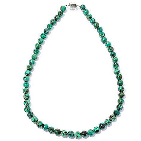 127-644 - Gem Insider Sterling Silver 8mm Chrysocolla Bead Necklace w/ Magnetic Clasp