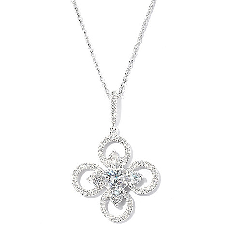 127-647 - Brilliante® Platinum Embraced™ 7.51 DEW Round Cut Simulated Diamond Clover Pendant