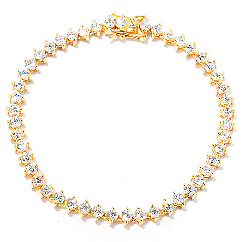 127-649 - Brilliante® Two-Prong Round Cut Polished Simulated Diamond Tennis Bracelet
