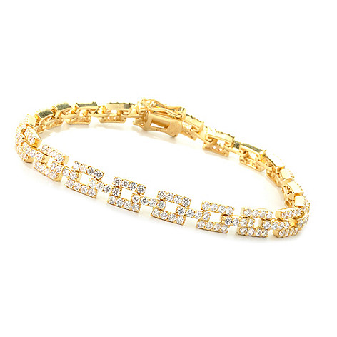 127-650 - Brilliante® Round Simulated Diamond Square Link Bracelet