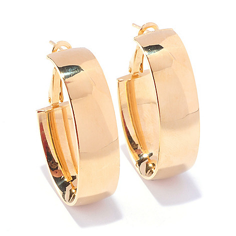 127-656 - Portofino Gold Embraced™ Polished Wide Face Hoop Earrings