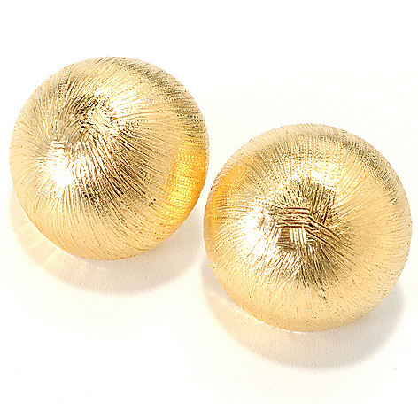 127-658 - Portofino 18K Gold Embraced™ Brushed Button Earrings w/ Omega Backs