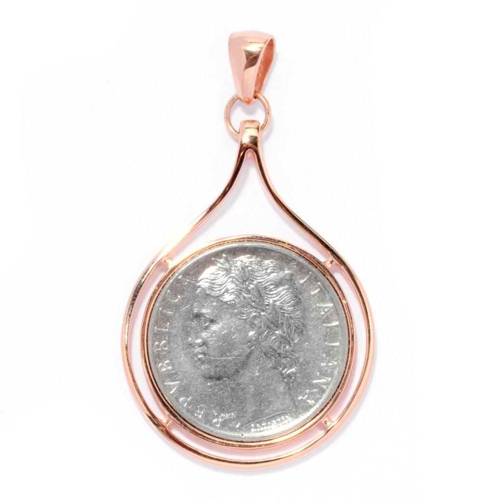 127-660 - Portofino Gold Embraced™ Italian Lire Coin Teardrop Pendant