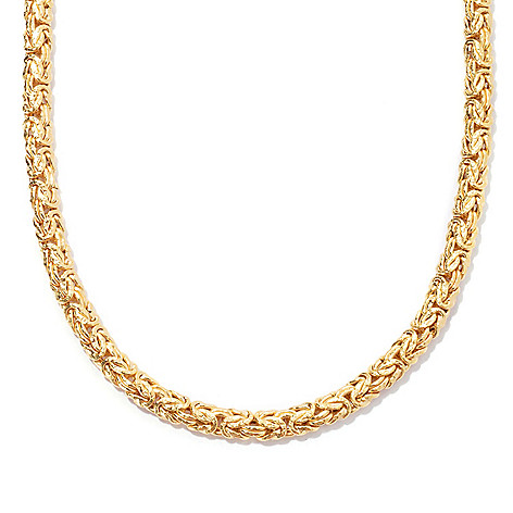 127-661 - Portofino 18K Gold Embraced™ Polished & Textured Byzantine Necklace