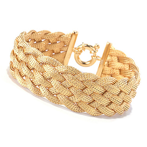127-662 - Portofino Gold Embraced™ Textured Braided Mesh Bracelet