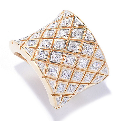 127-664 - Sonia Bitton Gold Embraced™ 1.14 DEW Round Cut Simulated Diamond Wide Checker Ring