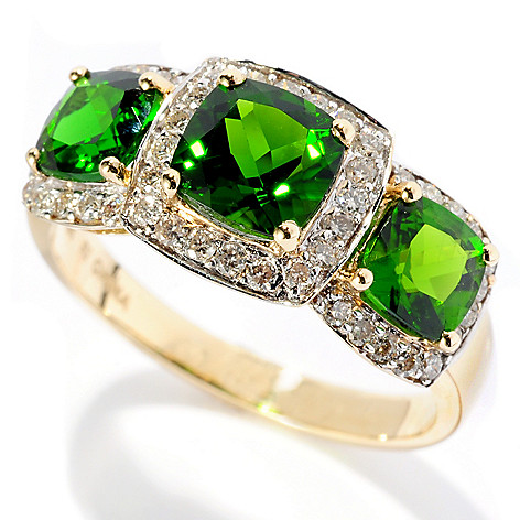 127-681 - Gem Treasures 14K Gold 2.67ctw Cushion Shaped Chrome Diopside & Diamond Ring