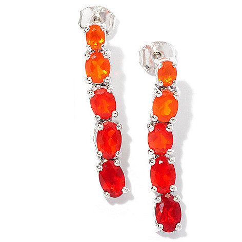 127-685 - NYC II 1'' 1.74ctw Graduated Fire Opal Line Drop Earrings
