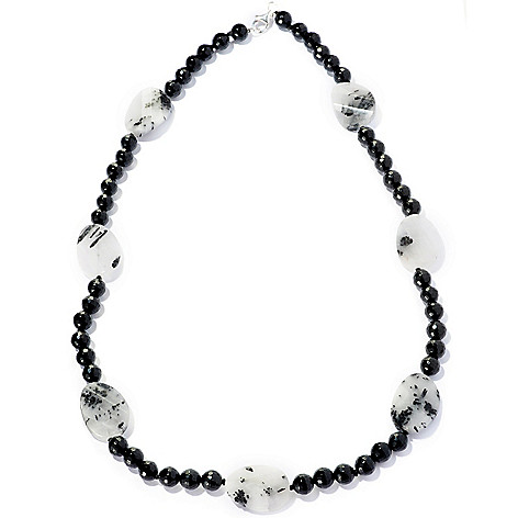 127-704 - Gem Treasures Sterling Silver 24'' Oval Rutilated Quartz & Onyx Bead Necklace