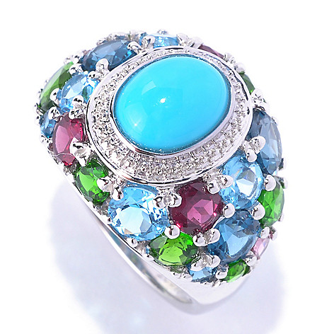 127-712 - Gem Insider® Sterling Silver 9 x 7mm Sleeping Beauty Turquoise & Multi Gem Ring