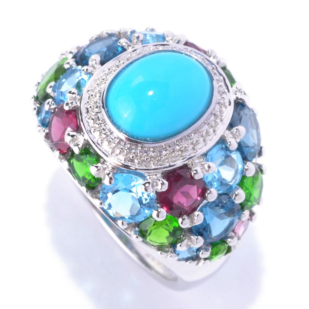 127-712 - Gem Insider Sterling Silver 9 x 7mm Sleeping Beauty Turquoise & Multi Gem Ring