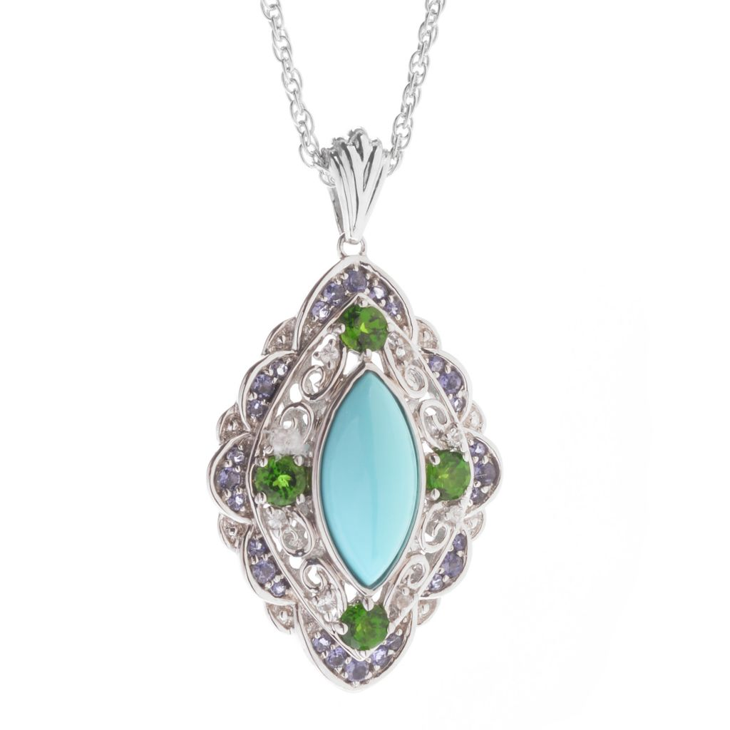 127-714 - Gem Insider Sterling Silver 15 x 7mm Sleeping Beauty Turquoise & Multi Gem Pendant