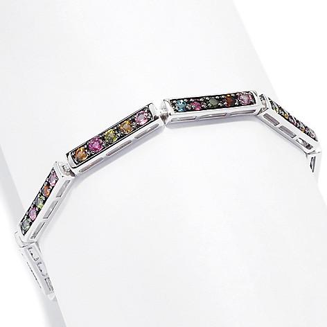 127-724 - Gem Insider™ Sterling Silver Multi Tourmaline Rectangular Link Bracelet