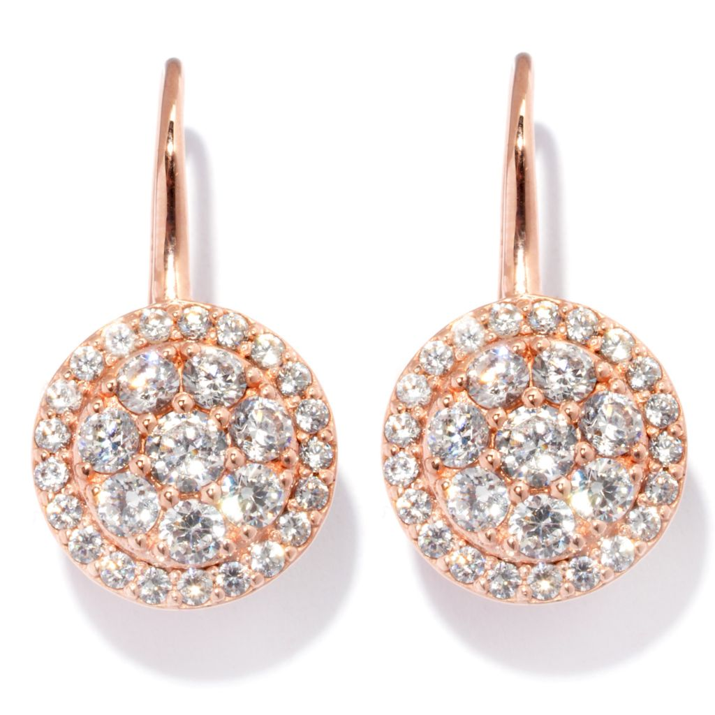 "127-730 - Sonia Bitton 1"" 2.09 DEW Round Cut Simulated Diamond Circle Drop Earrings"