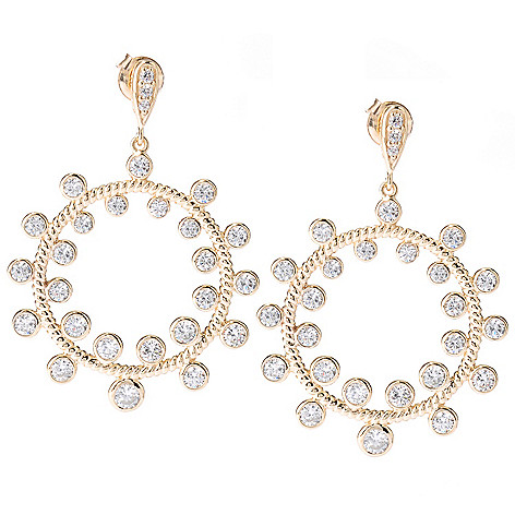 127-731 - Sonia Bitton 3.08 DEW Bezel Set Simulated Diamond Forward Facing Rope Earrings
