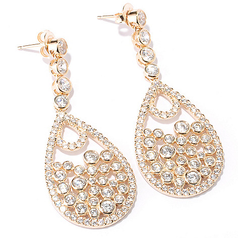 127-735 - Sonia Bitton 4.50 DEW Round Bezel Set Simulated Diamond Teardrop Earrings
