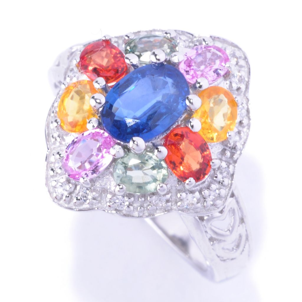 127-737 - Gem Treasures Sterling Silver 2.75ctw Multi Color Sapphire & White Zircon Ring