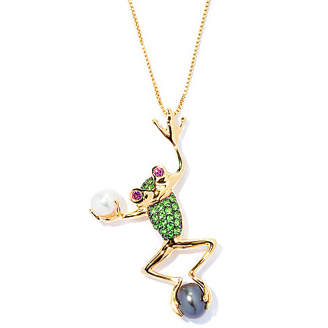 127-740 - NYC II Dyed Freshwater Cultured Pearl & Multi Gemstone Frog Pendant