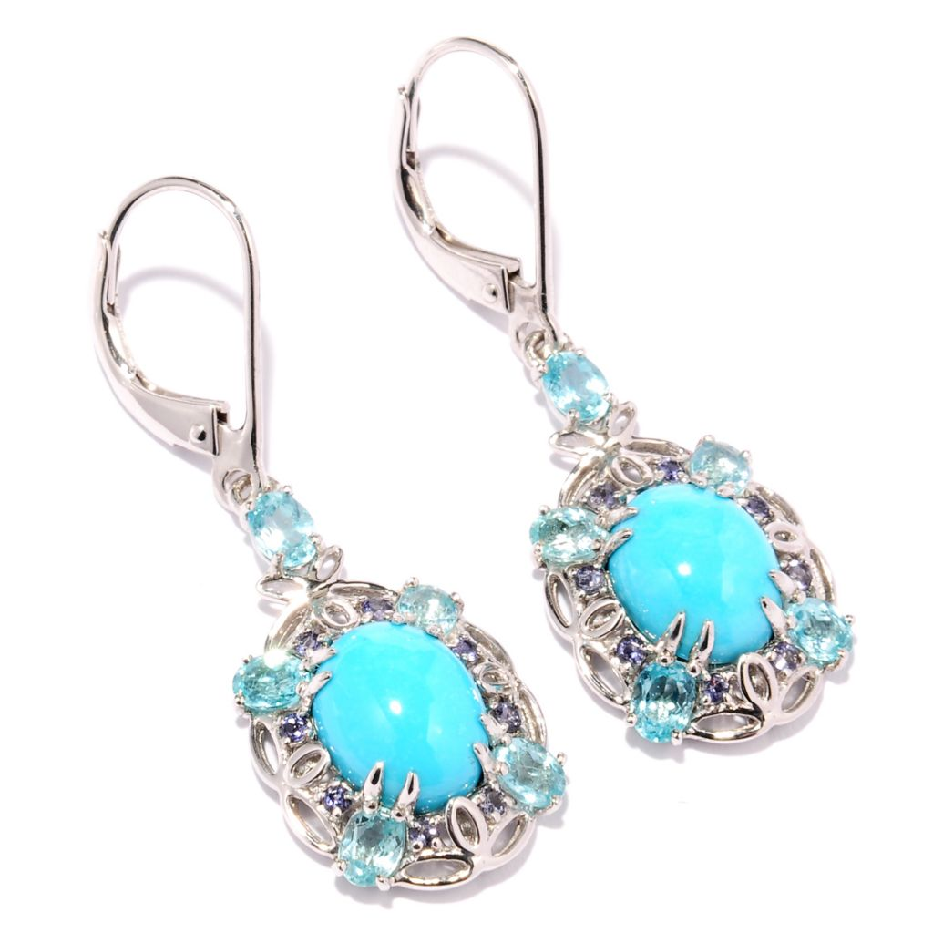 127-758 - Gem Insider Sterling Silver 10 x 8mm Sleeping Beauty Turquoise & Multi Gem Earrings