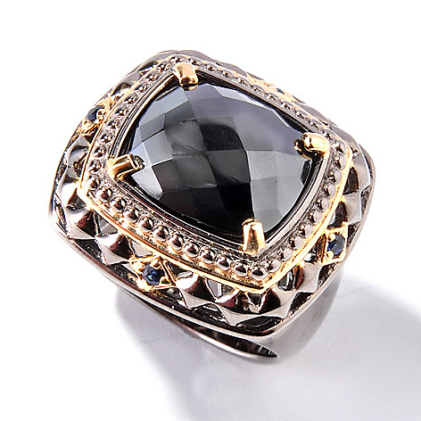 127-765 - Men's en Vogue II 14 x 12mm Rose Cut Hematite & Sapphire Ring