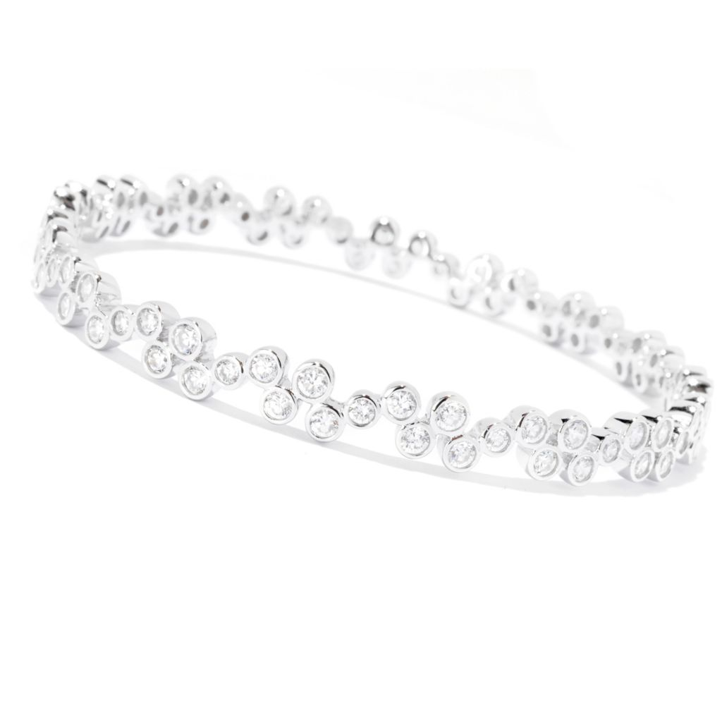 127-767 - Sonia Bitton Round Bezel Set Simulated Diamond Bubbles Slip-on Bangle Bracelet