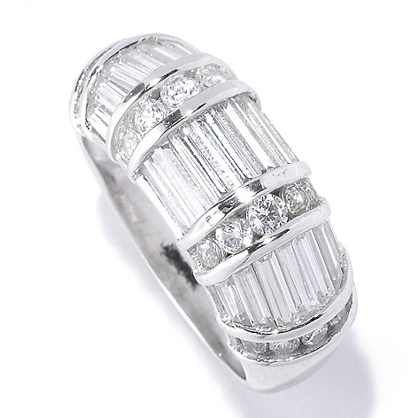 127-769 - Brilliante® Platinum Embraced™ 2.97 DEW Simulated Diamond Baguette Cut Dome Ring