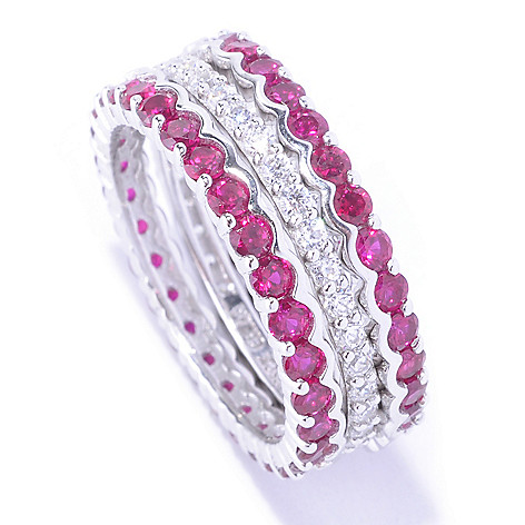 127-775 - Brilliante® Platinum Embraced™ 2.40 DEW Simulated Ruby Band Ring Set
