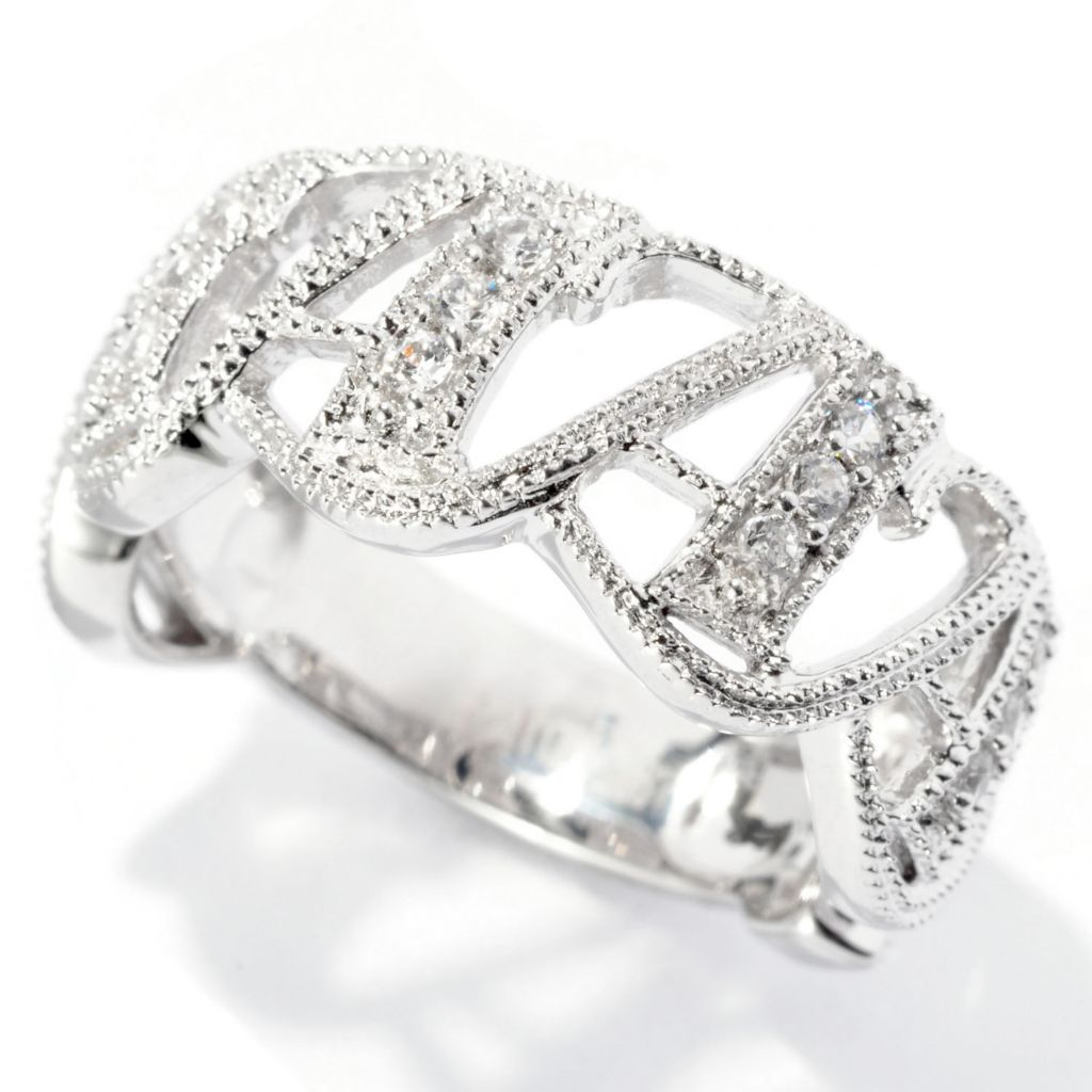 127-798 - Brilliante® Platinum Embraced™ Polished Milgrain Simulated Diamond Initial Ring