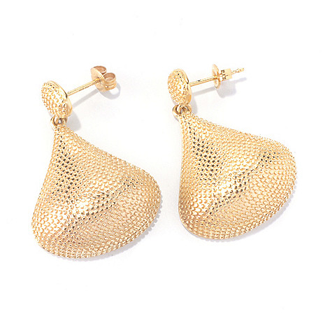 127-815 - Jaipur Bazaar 18K Gold Embraced™ 1.25'' Pear Shaped Bead Textured Drop Earrings