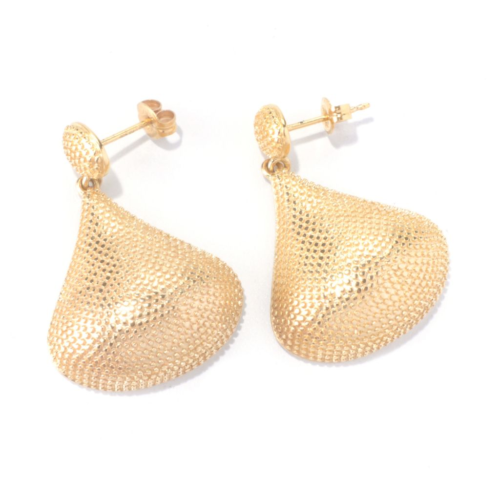 "127-815 - Jaipur Bazaar 18K Gold Embraced™ 1.25"" Pear Shaped Bead Textured Drop Earrings"